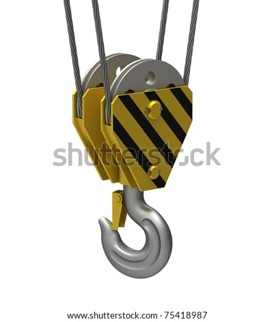 Hook of the elevating crane on a white background