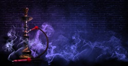 hookah on the background of a brick wall, neon light, smoke, smog,