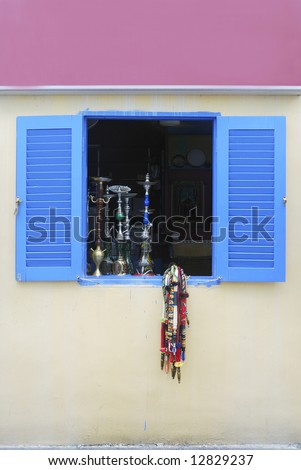 Hookahs on window sill of restaurant