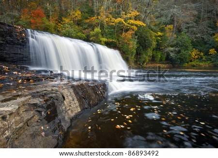 Hooker Falls Autumn Waterfalls DuPont State Park Forest Fall Foliage nature scene natural North Carolina Blue Ridge Mountains outdoors landscape