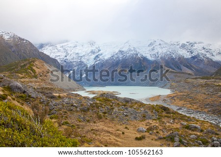 Hooker lake in early autumn Mt Cook Valleys Southern Alps mountain