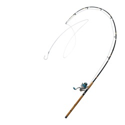hooks, fishing tackles and Fishing line string lace belts that are strongly flush with curved rod.