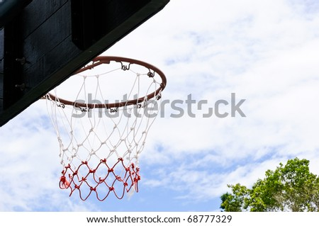 Hoop basketball on blue sky in the summer time
