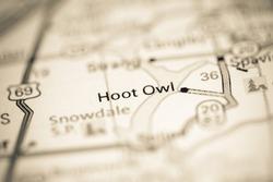 Hoot Owl. Oklahoma. USA on a geography map