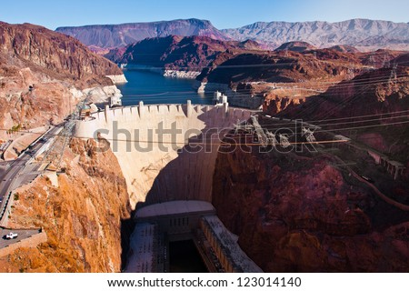 Hoover Dam across the Border of Nevada and Arizona