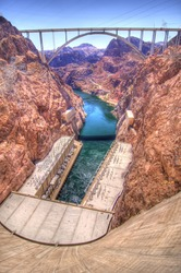 Hoover Dam Bypass bridge crosses the Colorado River downstream from the Hoover Dam