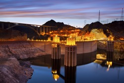 Hoover Dam. Image of Hoover Dam and Hoover Bridge at twilight blue hour.
