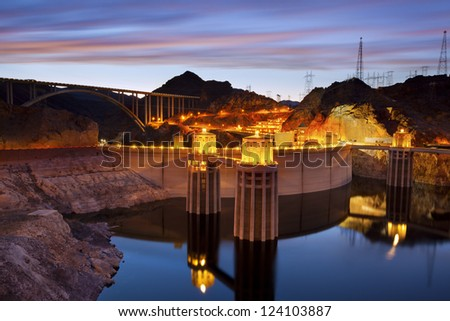 Stock Photo Hoover Dam. Image of Hoover Dam and Hoover Bridge at twilight blue hour.