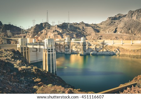 Hoover Dam in Nevada.Hoover Dam was once known as Boulder Dam.Hoover Dam is an arch-gravity dam in the Black Canyon of the Colorado River.Tourist spot in the midway from Los Angeles to Las Vegas.