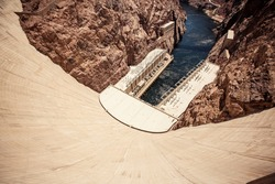 Hoover Dam in the Black Canyon of the Colorado River, between the US states of Arizona and Nevada.