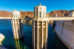 Hoover Dam Intake Towers Closeup. Hoover Dam in Nevada, United States.