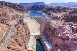 Hoover Dam on Arizona and Nevada border.