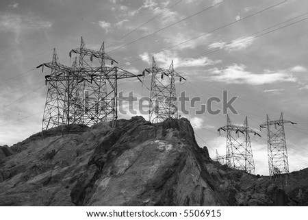 Hoover dam power lines in black and white