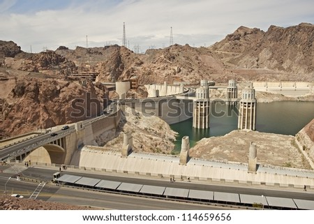 Hoover Dam - Previously Known as Boulder Dam, is a Concrete Arch-Gravity Dam in the Black Canyon of the Colorado River. Hoover Dam, Nevada / Arizona. Technology Photography Collection