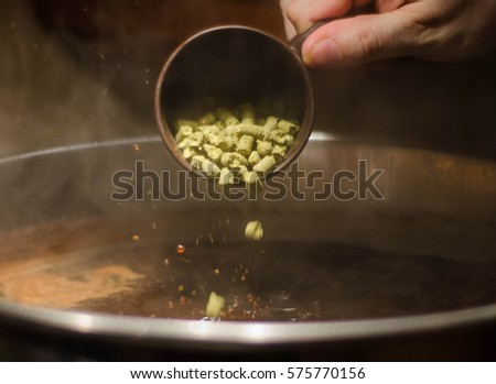 Hop addition into a beer