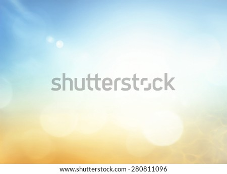 Hope concept: Abstract bokeh sun light with blurred yellow and blue color sky on beach background #280811096