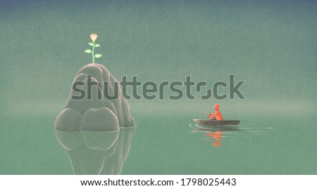 hope dream and life concept surreal artwork, man on a boat with flower on island, painting illustration, imagination art 商業照片 ©