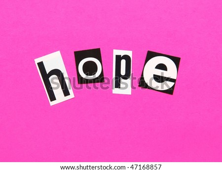 hope on a bright pink background - possible concept for breast cancer awareness