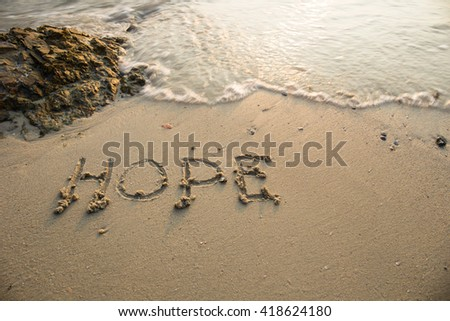 hope written in the sand at the ...
