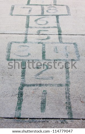 Hopscotch drawn on a sidewalk with numbers