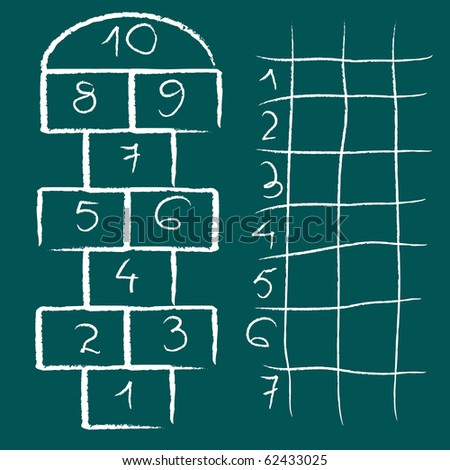 hopscotch game and chart, abstract art illustration; for vector format please visit my gallery