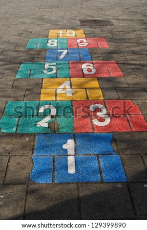 Hopscotch game on schoolyard