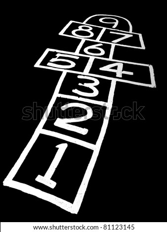 Hopscotch on black background