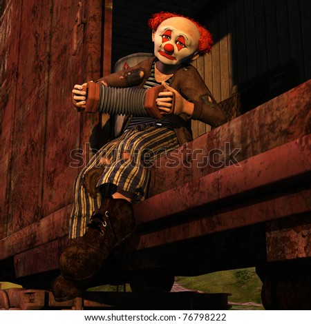 Horatius the Hobo - Vagabond clown riding in a railway car