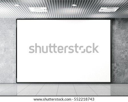 Horisontal blank billboard on a gray stone wall. 3d rendering
