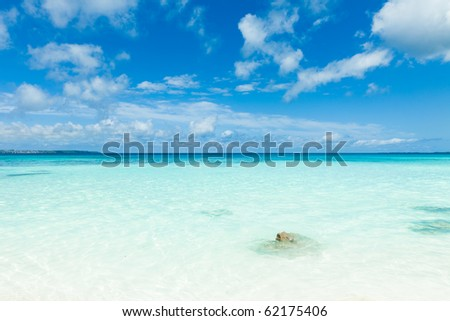 Horizon over clear blue tropical water of coral islands, Okinawa, Japan