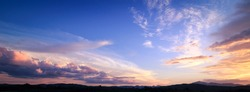 Horizon panorama mountain and dramatic twilight sky and cloud sunset background