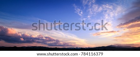 Horizon panorama mountain and dramatic twilight sky and cloud sunset background ストックフォト ©