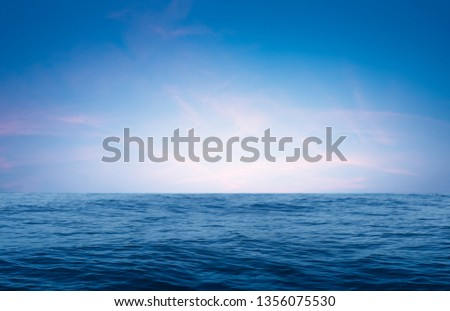 horizon Sea, Ocean waves of nature smooth surface and blue sky with summer for background #1356075530