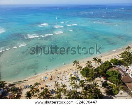 Stock Photo Horizon Waikiki Beach Oahu Island Hawai'i
