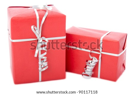 Horizontal and vertical standing red gift boxes with ribbon, isolated on white background