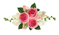 Horizontal arrangement with pink roses and freesia flowers isolated on white. Top view. Flat lay.