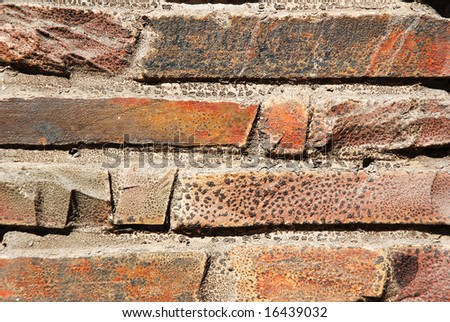 Horizontal background of an old brown brick stone wall