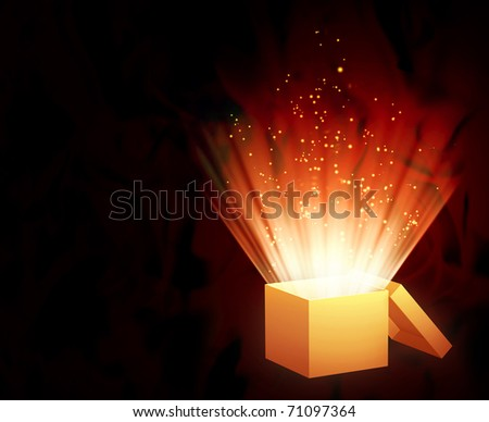 Horizontal background of red color with magic box