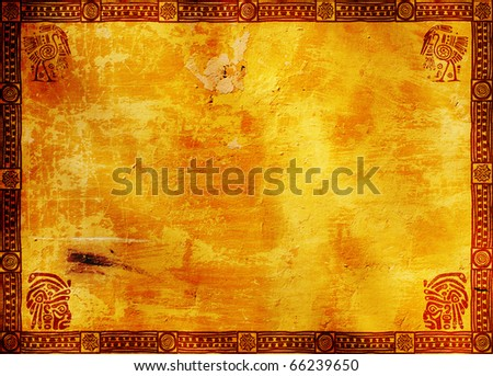 Horizontal background with American Indian traditional patterns - stock photo