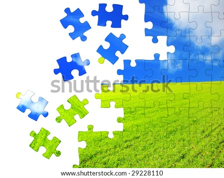 Horizontal background with 3d puzzles