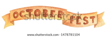 Horizontal banner for oktoberfest brown color ribbon. Hand drawn watercolour painting on white background clip art graphic elements for creative design and printable decor.