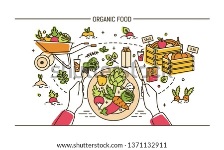 Horizontal banner with hands holding fork and knife and plate with healthy meal surrounded by fruits, vegetables, wheelbarrow, crates. Organic wholesome food. Illustration in line art style