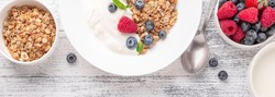 Horizontal banner with homemade granola, yogurt and fresh berries - Image