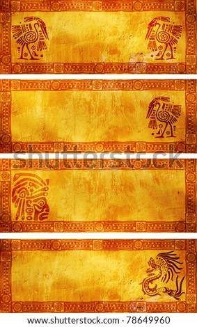 Horizontal banners with American Indian traditional patterns