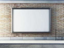 Horizontal blank billboard on street