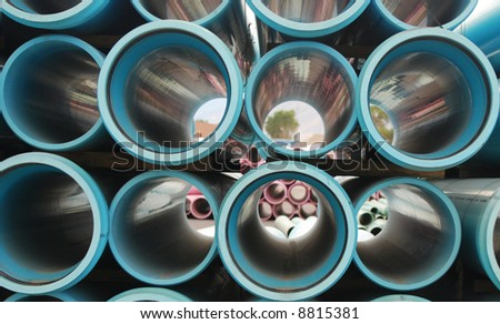 Horizontal Blue Plumbing Pipes