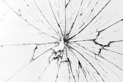 horizontal broken glass white background