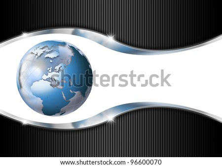 Horizontal Business Background / Blue and black business background with blue globe