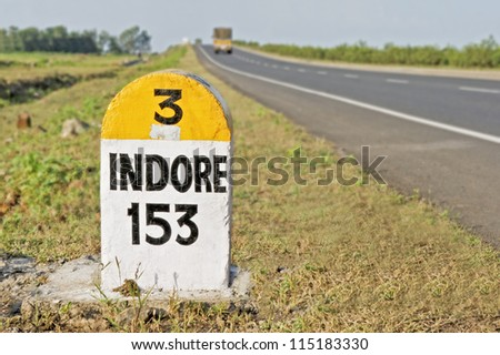 Horizontal capture of 153 kilometers to Indore Milestone on the National Highway 3 from Bombay to Indore, the Agra Road, India