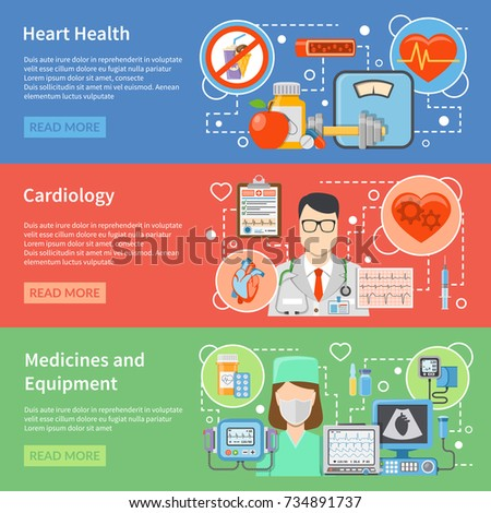 Horizontal cardiology flat banners with medicines and equipment for heart treatment and lifestyle for heart health isolated  illustration #734891737
